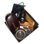 8 PCS Kit de Soins de Barbe, LeSB huile à barbe kit, Huile à barbe naturelle, Baume à barbe bio, Un ciseaux à barbe acier inoxydable, Deux peigne à barbe, Une brosse à barbe en Soie de Porc, Cadeau Idéal pour homme de la marque LeSB image 1 produit