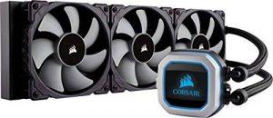 Corsair Hydro H150i PRO RGB Liquide Refroidisseur (Trois ML120 Ventilat Éclairage RGB Avancé et Contrôle du Ventilateur par Logiciel, All-in-One Liquid CPU Cooler) Noir de la marque Corsair image 0 produit