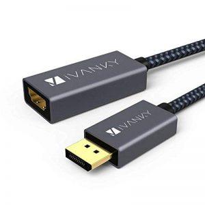 DisplayPort HDMI en Nylon tressé IVANKY Display Port to HDMI, Adaptateur DisplayPort vers HDMI, Adaptateur HDMI Display Port pour HP Elitebook, Thinkpad, AMD, NVIDIA, ordinateur de bureau et plus - Gris de la marque IVANKY image 0 produit