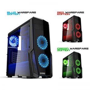 EMPIRE GAMING - Boitier PC Gaming WareFare Noir LED Bleu : USB 3.0, 3 Ventilateurs LED 120 mm, paroi latéral Transparente - ATX/mATX / mITX de la marque EMPIRE GAMING image 0 produit