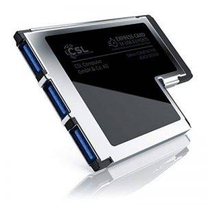 ExpressCard USB de CSL (54 mm/3 ports) | carte d'interface / adaptateur / convertisseur | 3x ports USB de type A | USB 3.0 Super Speed | jusqu'à 5 GBit/s | largeur d'installation 54 mm | rétrocompatible | contacts plaqués | CD de pilotes inclus de la marq image 0 produit