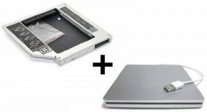 """HDD/SSD adaptateur pour Apple MacBook (Pro) 17"""" (2006 - Early 2008) remplace SuperDrive + boîtier USB pour SuperDrive 12.7 mm (SATA - PATA/IDE) - TheNatural2020 de la marque TheNatural2020 image 0 produit"""