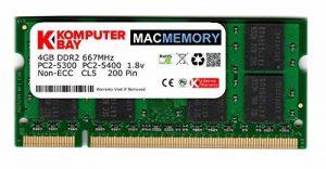 Komputerbay Apple MAC MÉMOIRE 4 Go d'Apple (seul bâton de 4 Go) PC2-5300 DDR2 667 MHz SODIMM pour iMac et Macbook mémoire de la marque Komputerbay image 0 produit