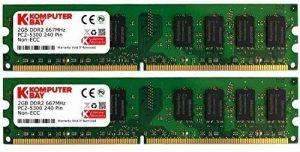 Komputerbay Mémoire pour ordinateur de bureau DDR2 667 MHz PC2-5300 PC2-5400 667 DIMM 240 broches 4 Go 2 x 2 Go 4 Go (2 x 2 Go) de la marque Komputerbay image 0 produit