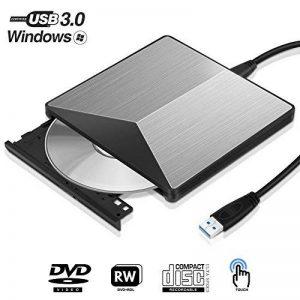 lecteur de DVD CD externe USB 3.0, EN Alliage d'aluminium CD Graveur de DVD lecteur de DVD portable pour ordinateur de bureau pour ordinateur portable PC MacBook Windows XP/Win 7/Win 8/Win 10/Vista/Linux/Mac OS et plus (Argent) de la marque Tupoer image 0 produit