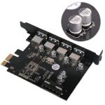 ORICO Carte Contrôleur PCI Express à 4 ports USB 3.0 - Adaptateur PCIe avec Alimentation Câble SATA de la marque ORICO image 1 produit