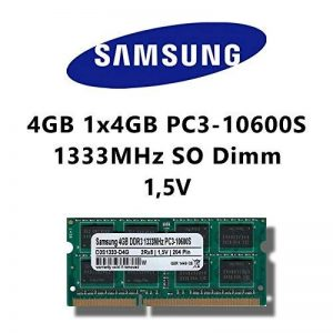 Samsung 4GB (1 x 4Go) dDR3 (pC3 10600S 1333MHz sO-dimm pour ordinateur rAM rAM memory portable de la marque Samsung image 0 produit