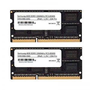 Samsung DDR33rd Kit de 8 Go de mémoire RAM (2 x 4 Go) DDR3 1066 MHz (PC3 8500) So DIMM mémoire RAMpour Notebook et ordinateur portable (pour Apple & PC) de la marque Samsung image 0 produit