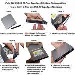 techPulse120 Boîtier de disque externe USB 3.0 Boîtier vide (Boîtier de boîtier sans lecteur) Boîtier Caddy pour disques SATA Slim de 12,7 mm - Installation facile Cliquez de la marque techPulse120 image 3 produit