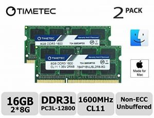 Timetec Hynix IC 16GB Kit (2x8GB) Apple DDR3 1600MHz PC3-12800 SODIMM Memory Upgrade For MacBook Pro 13-inch/15-inch Mid 2012, iMac 21.5-inch Late 2012/Early 2013,27-inch Late 2012/ 2013,Retina 5K display Late 2014/Mid 2015,Mac mini Late 2012/ Server (16G image 0 produit