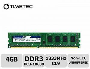 Timetec Hynix IC 4GB DDR3 1333MHz PC3-10600 Unbuffered Non-ECC 1.5V CL9 2Rx8 Dual Rank 240 Pin UDIMM Bureau Mémoire RAM Module Upgrade (4GB) de la marque Timetec image 0 produit