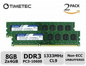 Timetec Hynix IC 8GB Kit (2x4GB) DDR3 1333MHz PC3-10600 Unbuffered Non-ECC 1.5V CL9 2Rx8 Dual Rank 240 Pin UDIMM Bureau Mémoire RAM Module Upgrade (8GB Kit (2x4GB)) de la marque Timetec image 0 produit